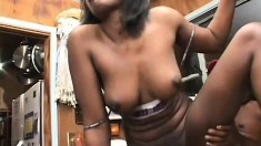 Lustful ebony housewife Nina seduces the plumber and he drills her needy snatch