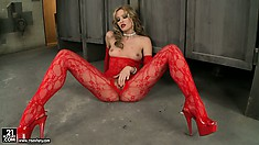 Her sexy red bodystocking is surely made crotchless for a reason