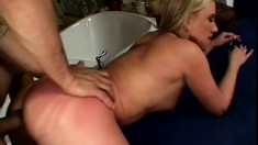 Feisty blonde chick loves taking a fat meat stick from behind