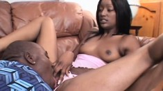 Naughty ebony Cashmere uses her skilled lips to make a guy cum