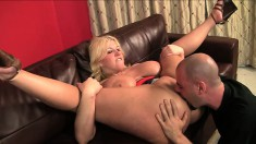 Huge breasted blonde knows exactly how to drive a big shaft to orgasm