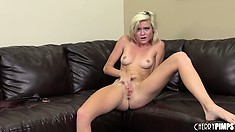 Fair-haired petticoat Chloe Foster amazes her fans with a passionate show