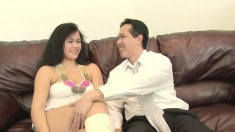 Barely legal Asian slut gets her chubby body fucked on the couch
