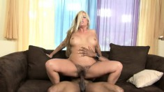 Joclyn Stone fucks a big black dick and takes a huge load in her mouth