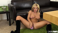 Attentive female Tasha Reign spends a lot of time masturbating on a floor