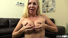 Busty blonde Lisa DeMarco does an interview and a live show stripping