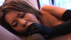 Nasty Asian chick Veronica Lynn has two hung guys hammering her holes