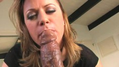 Wonderful blonde cougar Nadia Sin reveals her passion for black meat