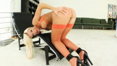 Striking blonde Denise gets her fiery butt nailed hard and creampied