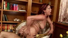 Eager redheaded babe wants to mount her lover's turgid python