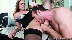Samantha Ryan gets mean on her man and makes him eat her out