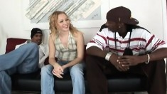 Blonde with two black dudes gets hammered hard, a DP and mouthful