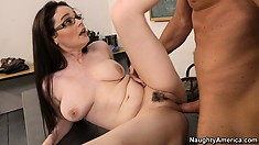 Busty brunette Tessa Lane rides and bends to fuck doggy style