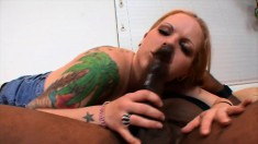 Sultry blonde with a big booty Kendra feeds her hunger for black meat