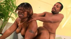 Black plumper gets fucked so hard all her fat jiggles but she loves it