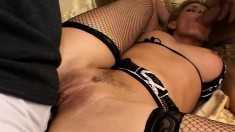 Kinky blonde milf in lingerie has two dark studs banging all her holes