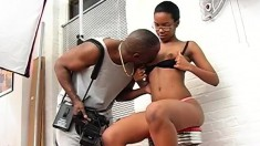 Dark Skinned Model Engages In Intense Sex Action With A Hung Black Guy
