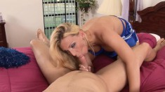 Dazzling Blonde Cheerleader Fucks A Long Cock Until She Gets Creampied