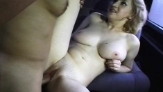 Busty blonde chick with big tits gets nailed hard and deep in the van