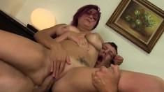 Wild secretary with big hooters Mali Luna has wild sex with her boss