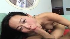 Petite Oriental girl Niya Yu bounces on a hard cock with great desire
