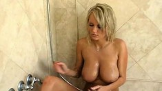 Enchanting Blonde With Big Tits Brings Herself To Climax In The Shower