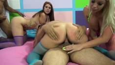 Three Alluring Chicks Making The Most Of Their Time With Two Hung Guys