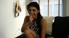 Sultry brunette with great blowjob abilities gets pounded hard in POV