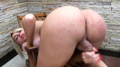 Striking Blonde Shemale With Big Hooters Drills Her Ass With A Dildo