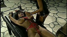 Ebony mistress goes into her dungeon to check on her busty pet