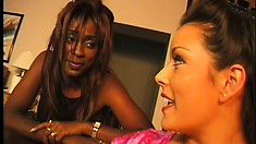 Sexy black bimbos make each other feel the heat doing lesbian porn