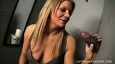 Blonde tart is eager to take a stranger's piston deep inside her mouth