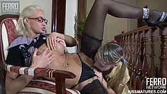 Slutty blonde bitches Christiana and Bella share kisses and pussy juice