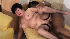 Fat granny gets her slit pounded to the balls by a friendly homie
