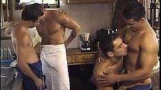 Sexy gay boy Ivan Mrozek has three hot studs fucking his butt hole