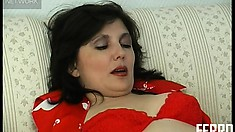 Chubby brunette in stockings gets stuffed by a stranger's cock