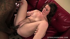 Chubby white babe with a big oiled up ass takes a ride on a BBC