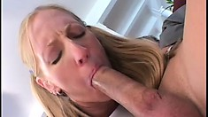 Young blonde cutie lets a lusty guy fuck her tight little asshole