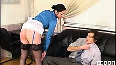 Rosa keeps her stockings and clothes on when she gets on top of Marcus