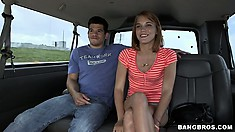 Little redhead gets picked up in the van for some hopeful fun