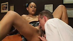 Sweet ebony schoolgirl has a white guy filling her ass with his cock