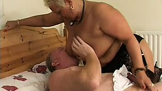 Fat mature lady with short blonde hair and huge tits is horny as hell