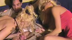 Horny couple is joined by a big breasted blonde for a wild threesome