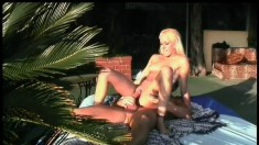 Athletic blonde Desire Moore passionately fucks a hard prick outside