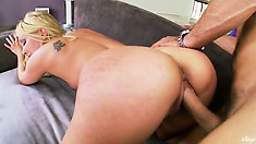 Cute blonde shows her delicious and well-shaped ass as he fucks her from behind