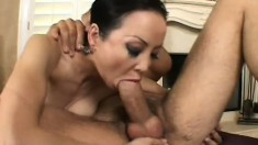 Lusty Asian Ange Venus shows her puckering asshole while on top