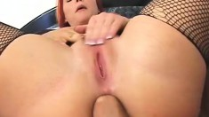 Kinky redhead with a big glistening ass gets a mighty pounding