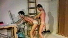 Lustful gay workers take a break and indulge in hot anal action