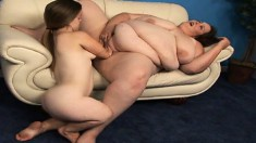 Freaky lesbian encounter between a massive chick and a kinky midget