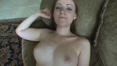 Naturally big breasted redhead gets her man hard and rides him deep